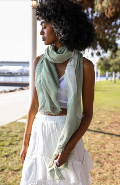 Sage Tie Dye Scarf Cover-up