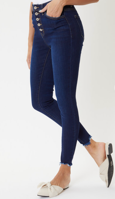 High rise button fly super skinny jeans.
