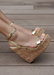 Women's Gold Amora Cork Platform Wedges by Alexandria Brandao Shoes. Side view