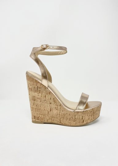 Amora Platform Cork Wedges in RoseGold