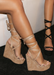 Alexia Suede Platform Tie-Up wedges in Nude. side view