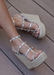 Astrid Espadrille Platform Wedges in Silver with Gold studs