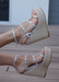 Astrid Espadrille Wedges in Silver. Side View