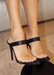 Audrey slip on heels in black. Front view