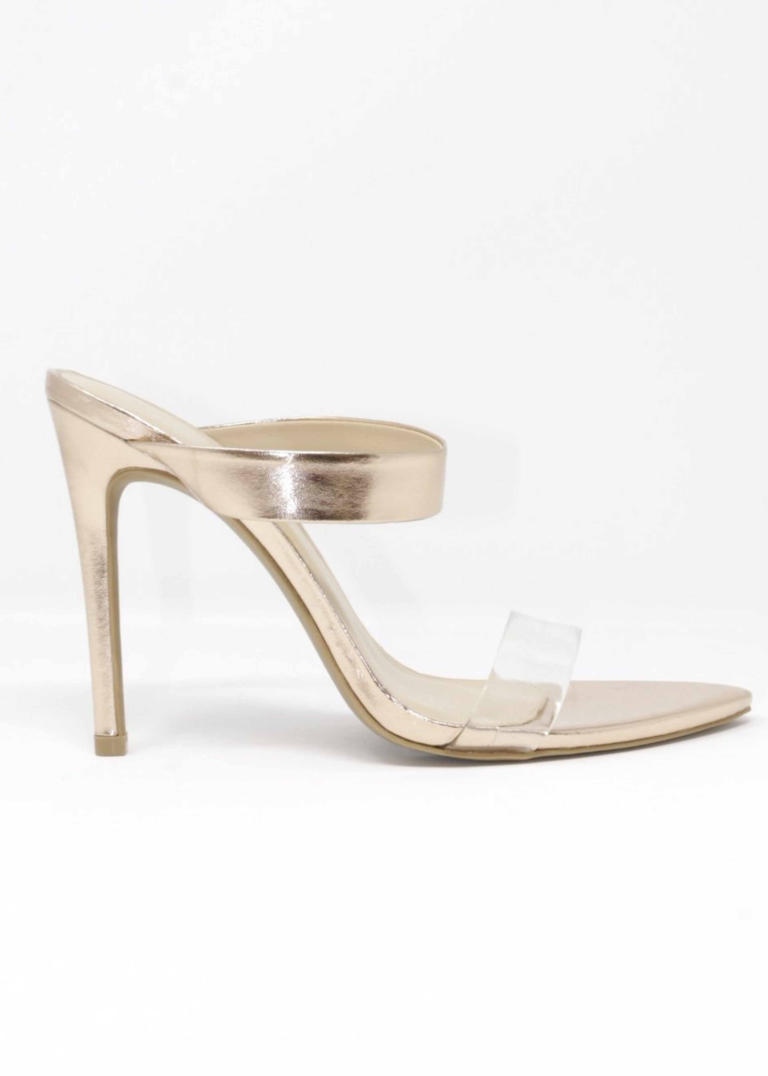 Audrey Heels with Clear Strap in RoseGold