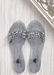 Aria B silver jelly slide sandal with three studded straps across the toes.