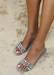 Aria B Jelly Studded Slide Sandals in Silver