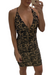 Leopard print stretch mini dress