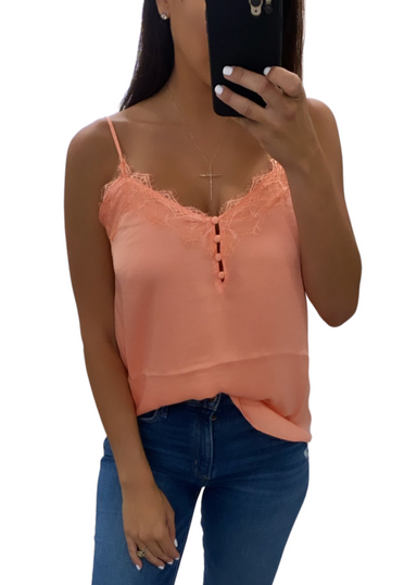 NEON PEACH LACE CAMI WITH FRONT BUTTON DETAIL