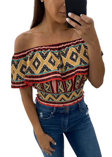 RED MULTI COLOR OFF THE SHOULDER TOP