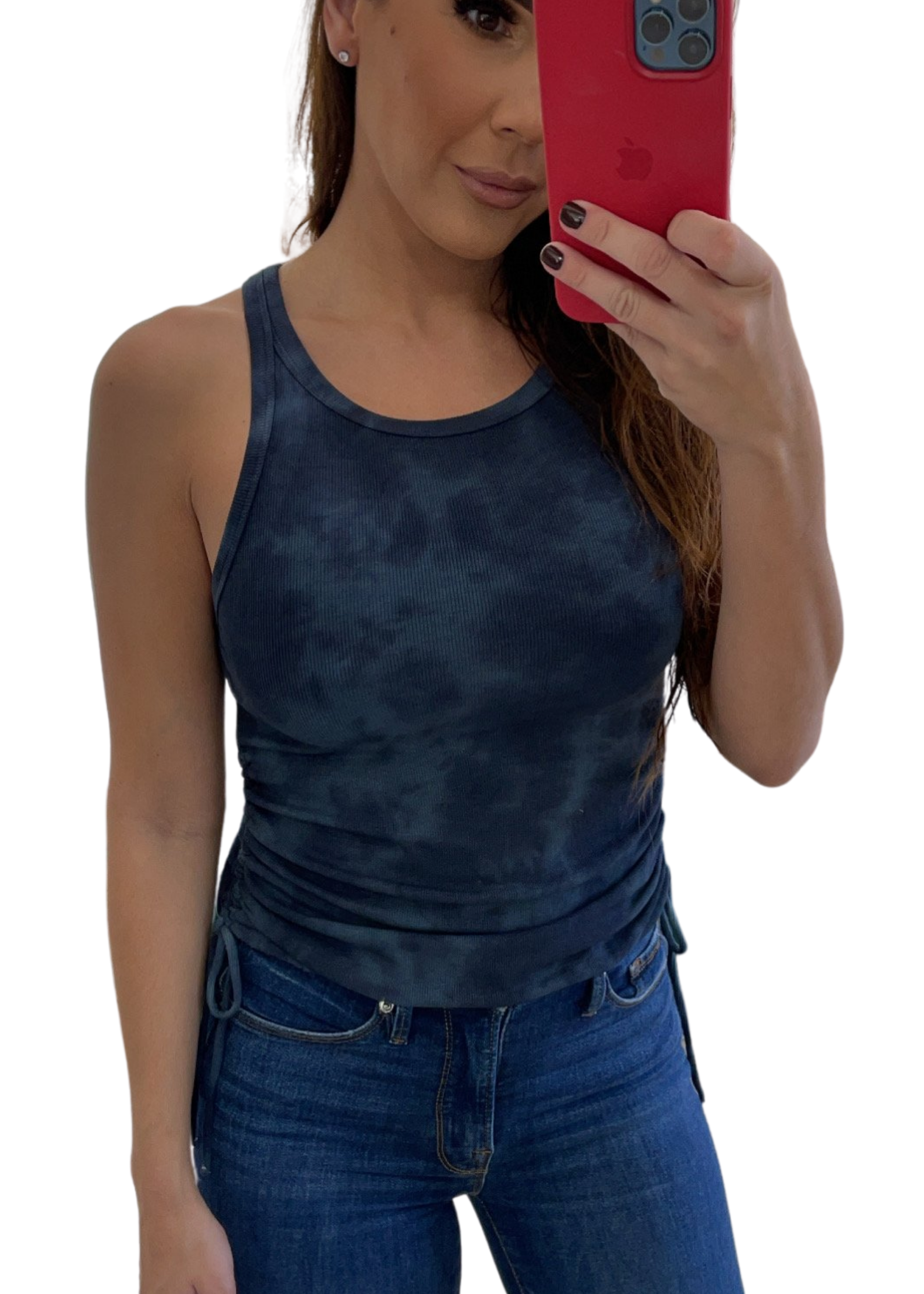 Our Navy Tie Dye Drawstring Tank features a cropped hem and racerback. Knit.