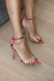 NEON PINK SNAKE STRAPPY HEEL