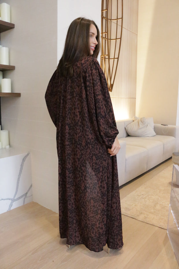 RUST AND BLACK ANIMAL PRINT DUSTER