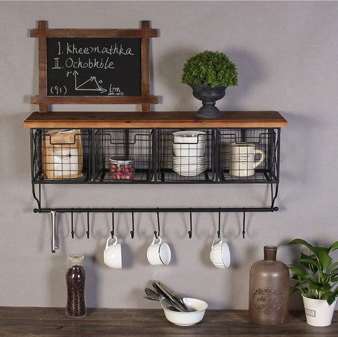 Ensley - Modern Nordic Metal & Wood Shelf