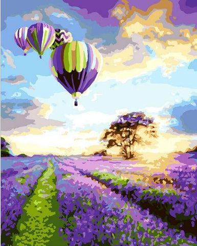 Hot Air Balloon Lavender Field - Van-Go Paint-By-Number Kit