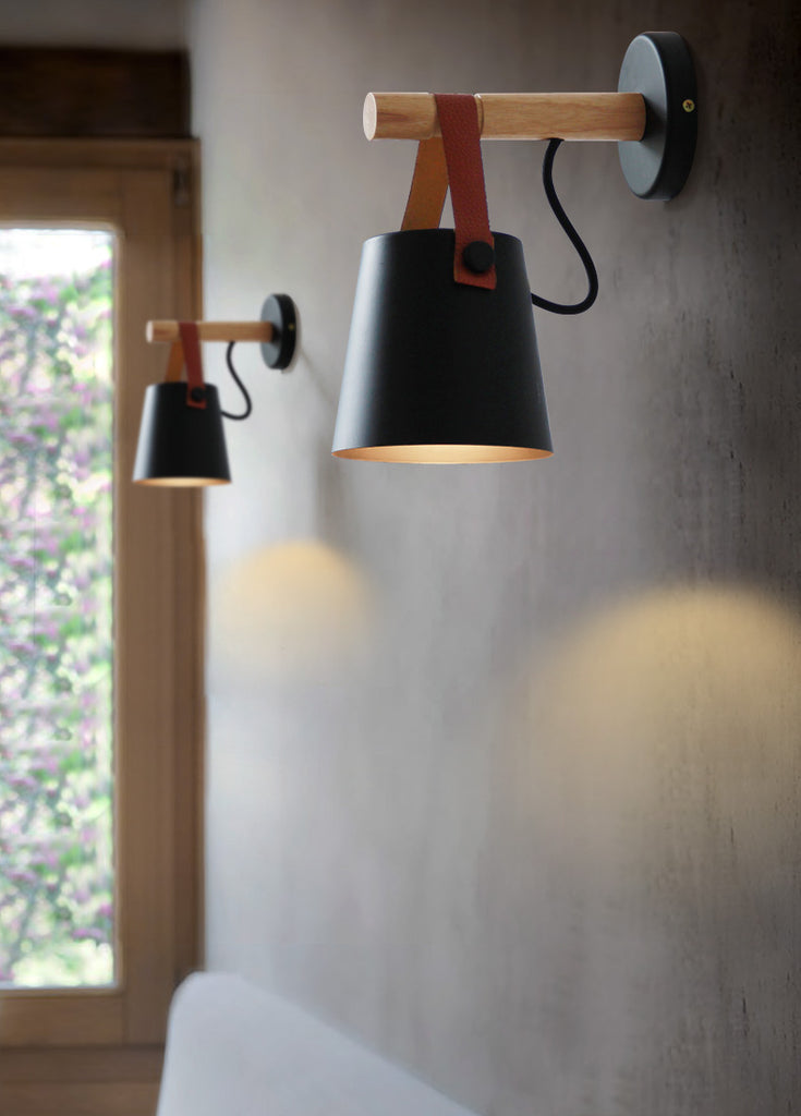 Led Wooden Nordic Wall Lamp Gray Matter