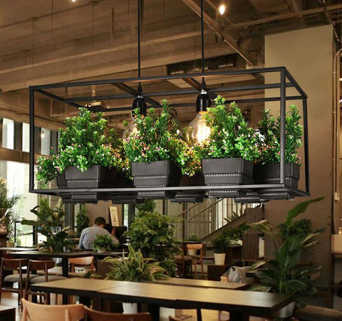 Metta - Wrought Iron Suspended Planter Lamp