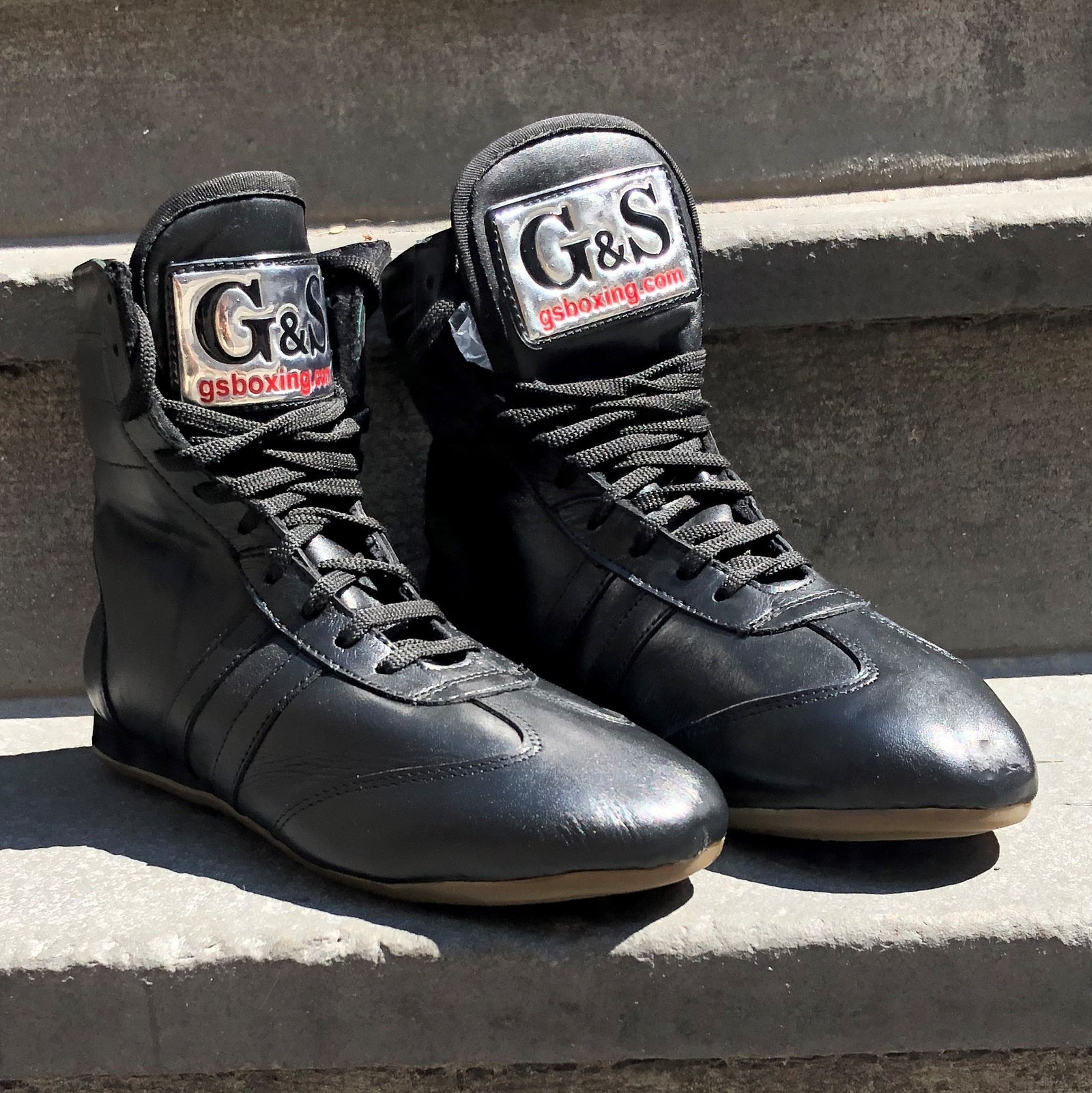 Black Leather Boxing Boots