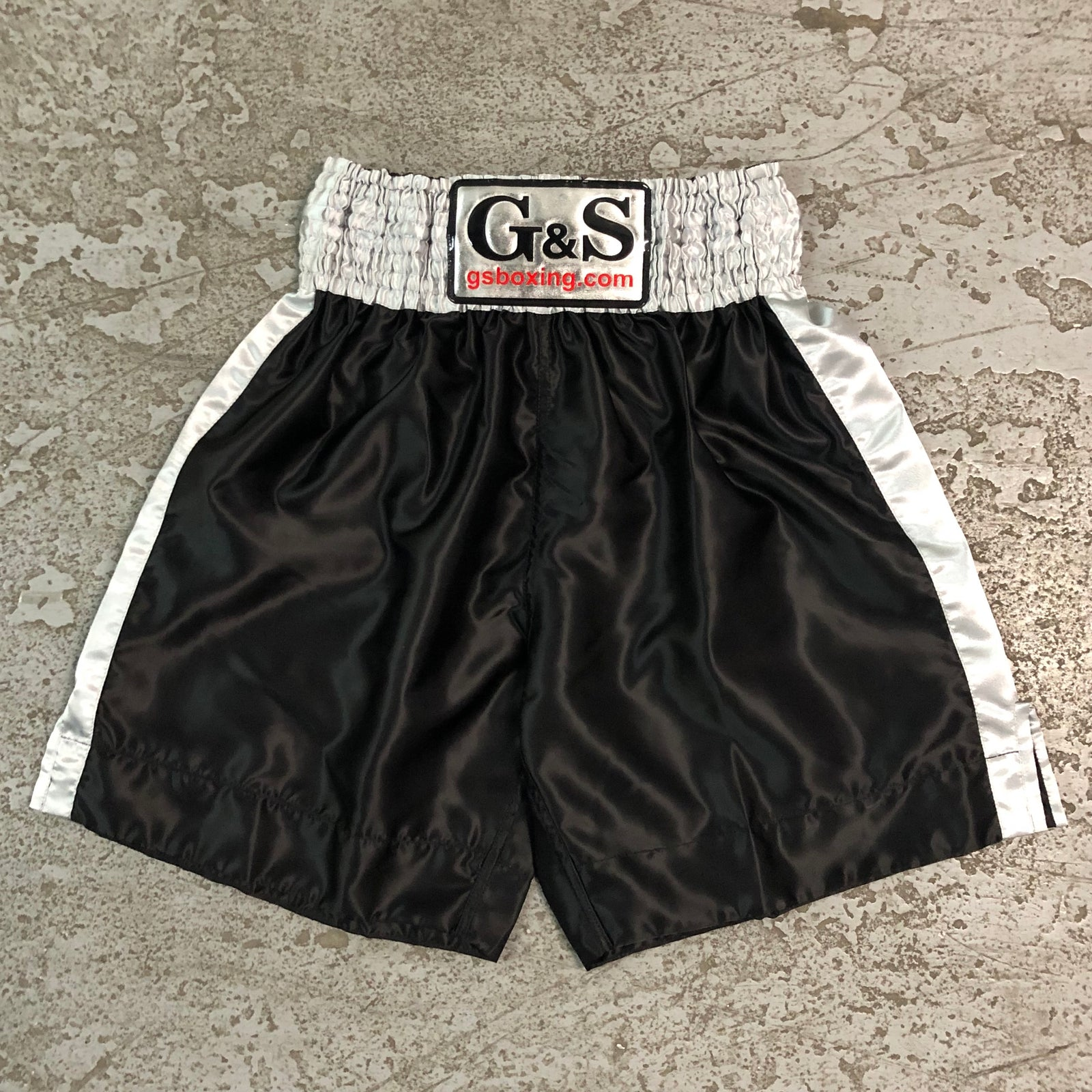 Throwback Fight Trunks - Black with Grey Waistband