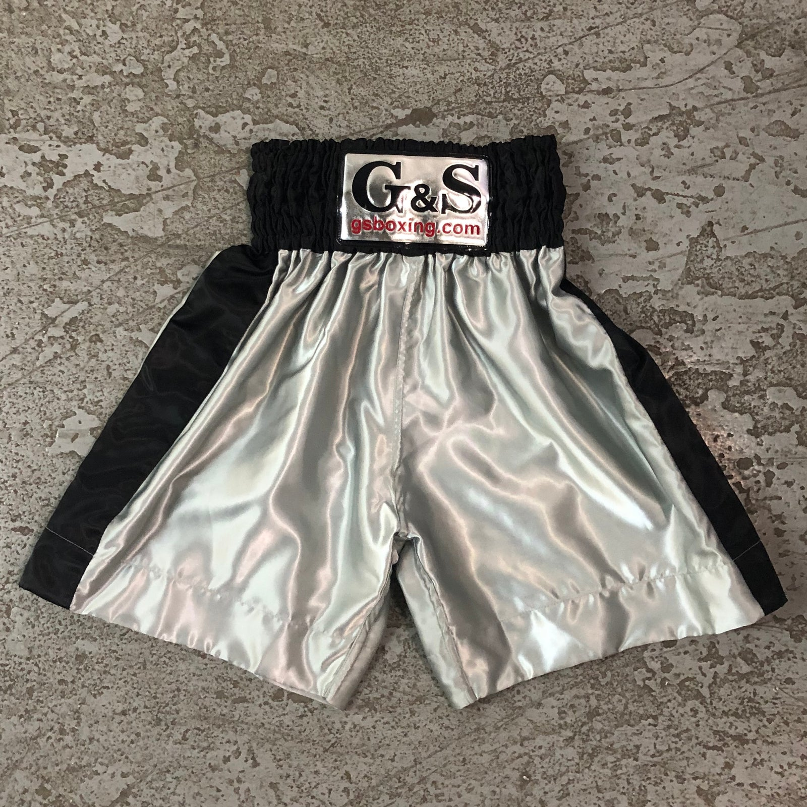 Throwback Fight Trunks - Grey with Black Waistband