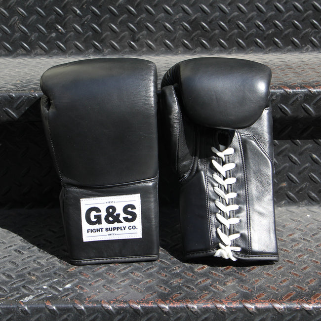 The Original - Black Leather Lace Up Gloves