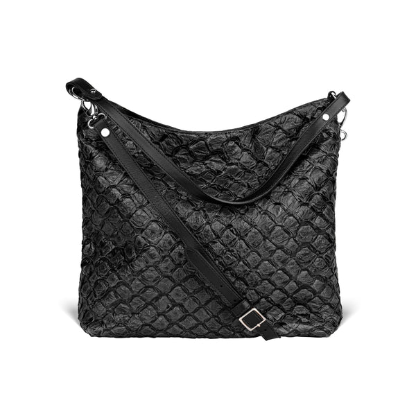 Playa Shoulder Bag - Midnight Black Pirarucu