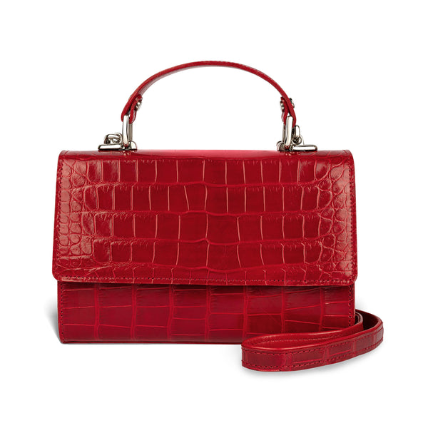 sustainably-sourced leather crossbody handbag in red alligator leather