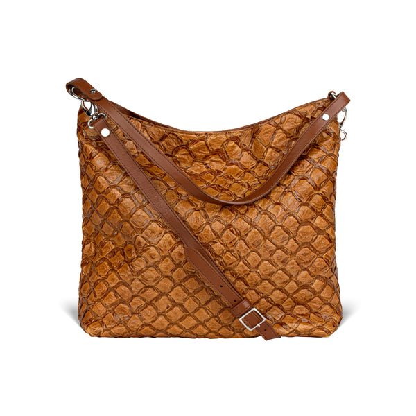 Playa Shoulder Bag - Cognac Pirarucu - PRE-ORDER