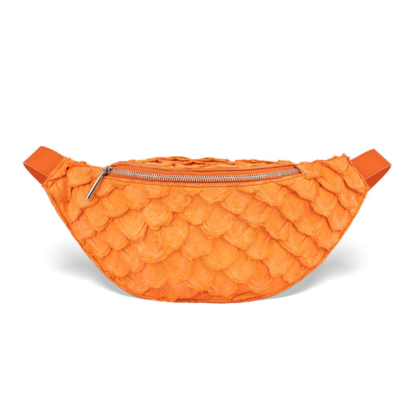 orange pirarucu leather fanny pack, by piper & skye