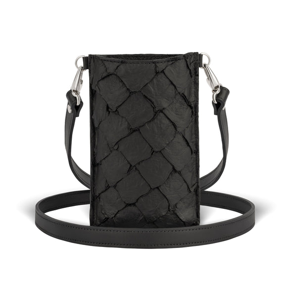 pirarucu leather, crossbody phone case in Black from piper & skye