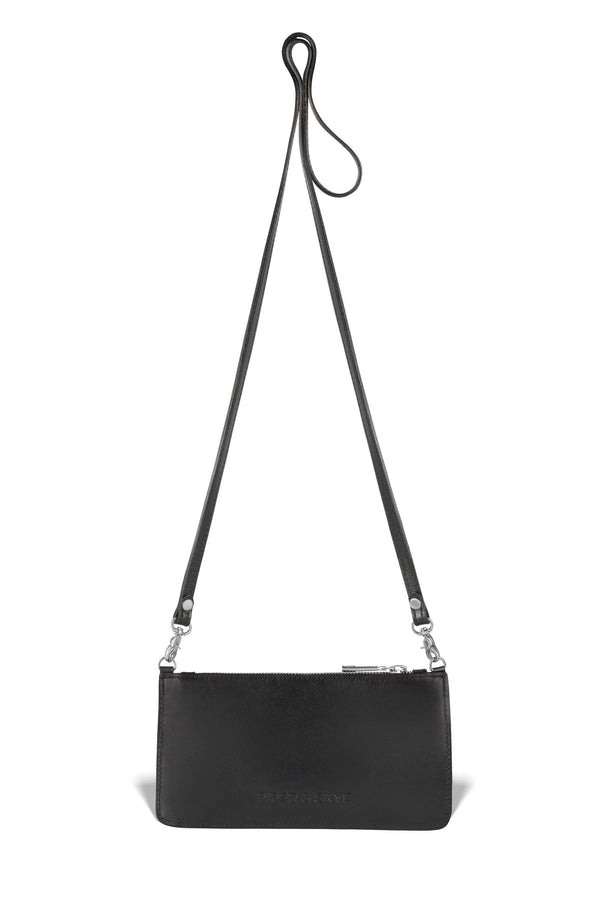 responsible luxury black leather piper & skye crossbody