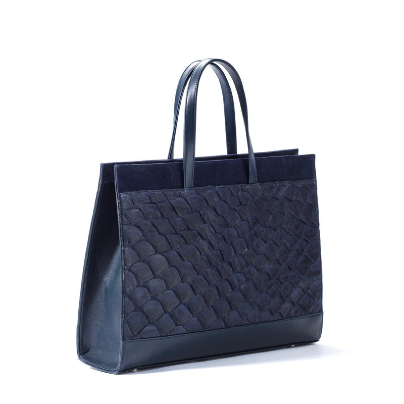 Responsible luxury, evening blue, pirarucu leather tote handbag made by Piper & Skye