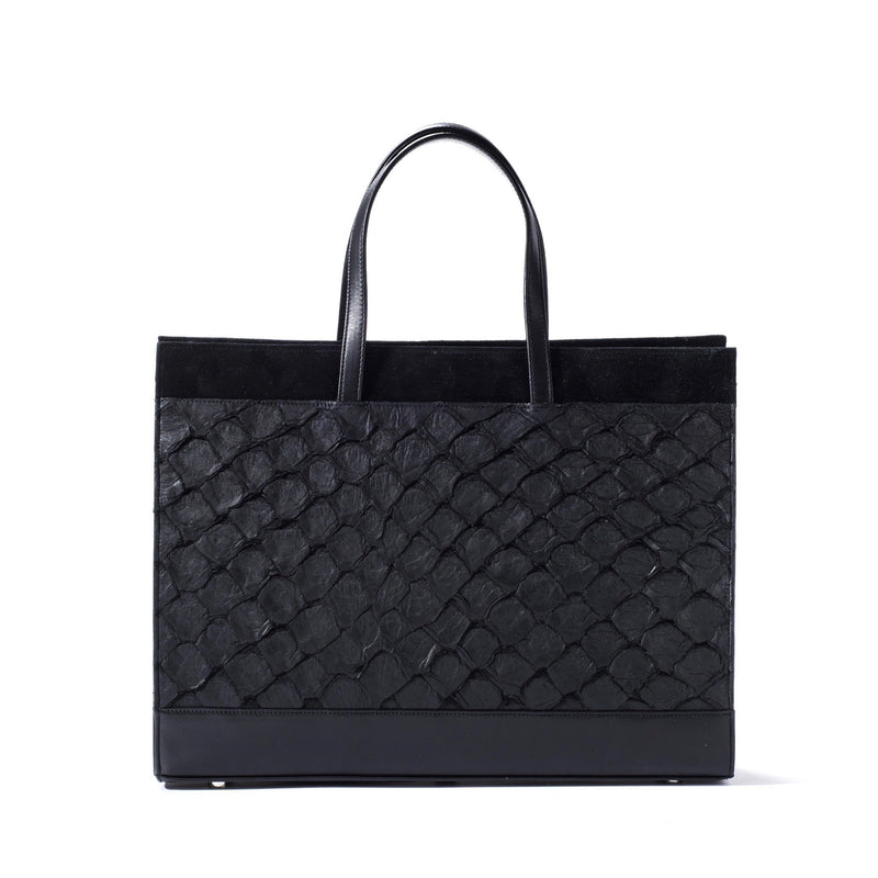 Responsible luxury pirarucu tote in midnight black, made in USA