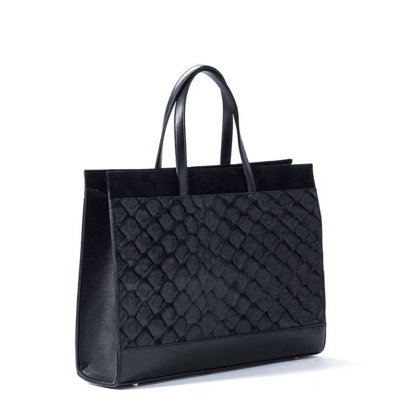 Side view of black pirarucu leather tote handbag, made in USA by Piper & Skye