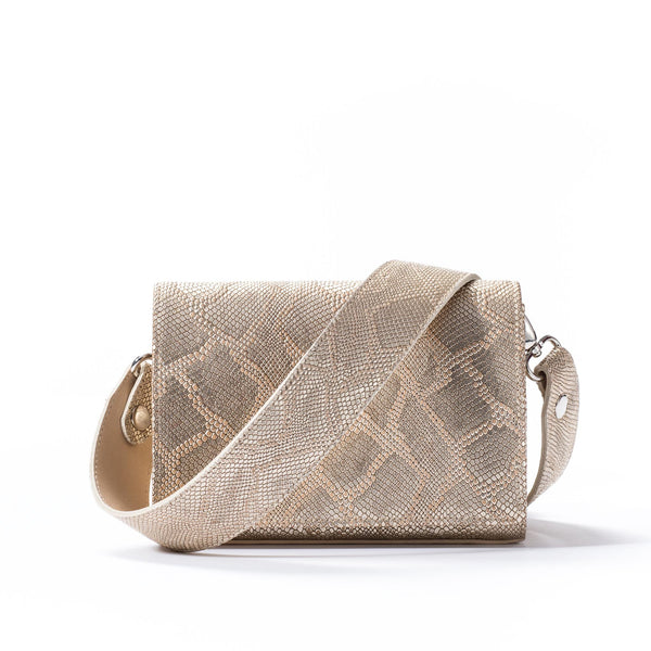 Lola Crossbody - Gold Embossed Leather