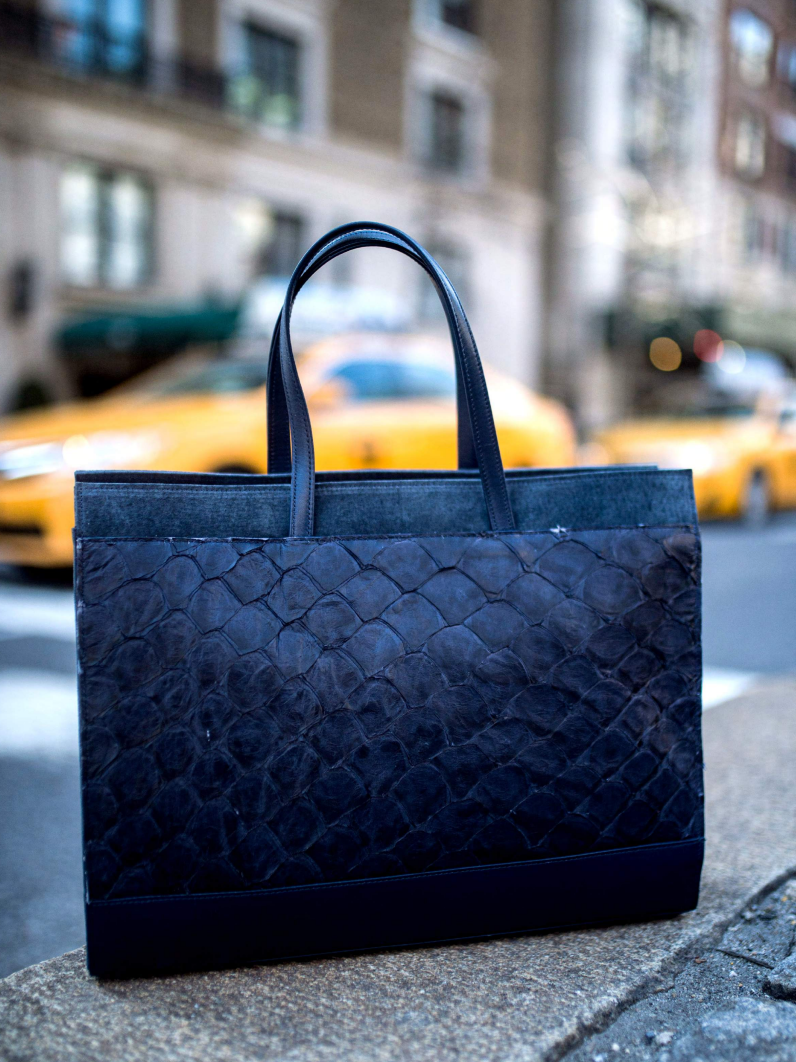 piper & skye pirarucu leather tote handbag in New York City.