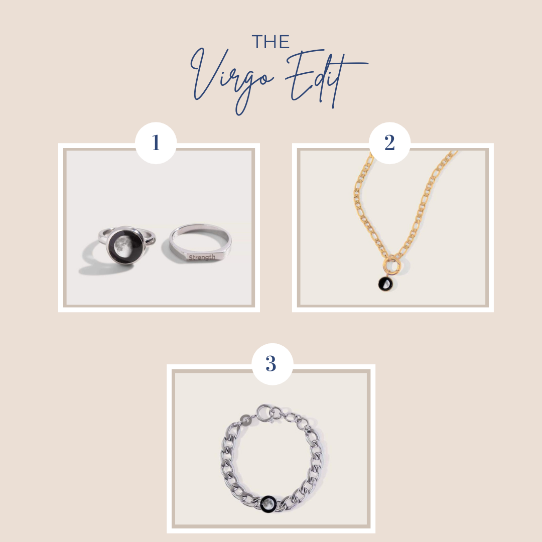 beige backgroun, the virgo edit in navy font with three jewelry pieces showing
