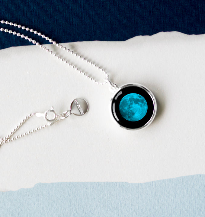 Moon Phase Blue Necklace