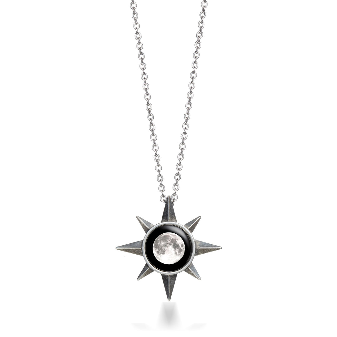 circle necklace star sterling crystal