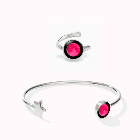 Pink Moon Crépuscule Cuff in Stainless Steel + Cosmic Spiral Ring in Rhodium Set