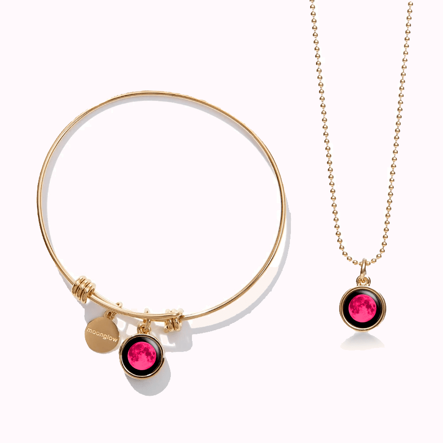 Pink Moon Modern Moon Bangle + Mini Simplicity in Gold Set