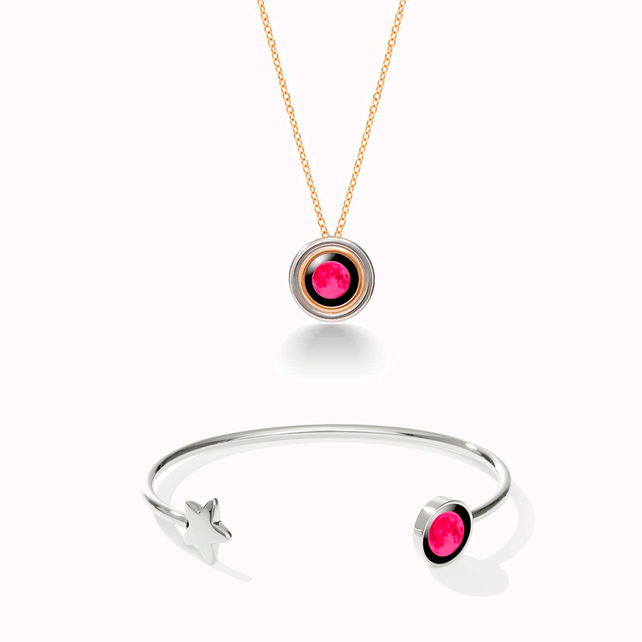 Pink Moon Soleil Lune Necklace +  Crepuscule Cuff in Stainless Steel Set