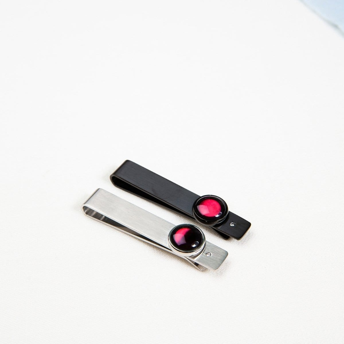 Moon & Crystal Tie Bar in Black with Pink Moon