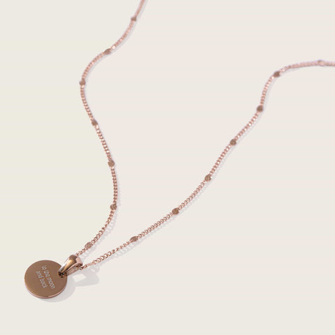 Sun Drop Engravable Necklace in Rose Gold
