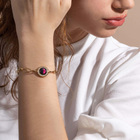 Pink Moon Asterism Link Bracelet in Gold