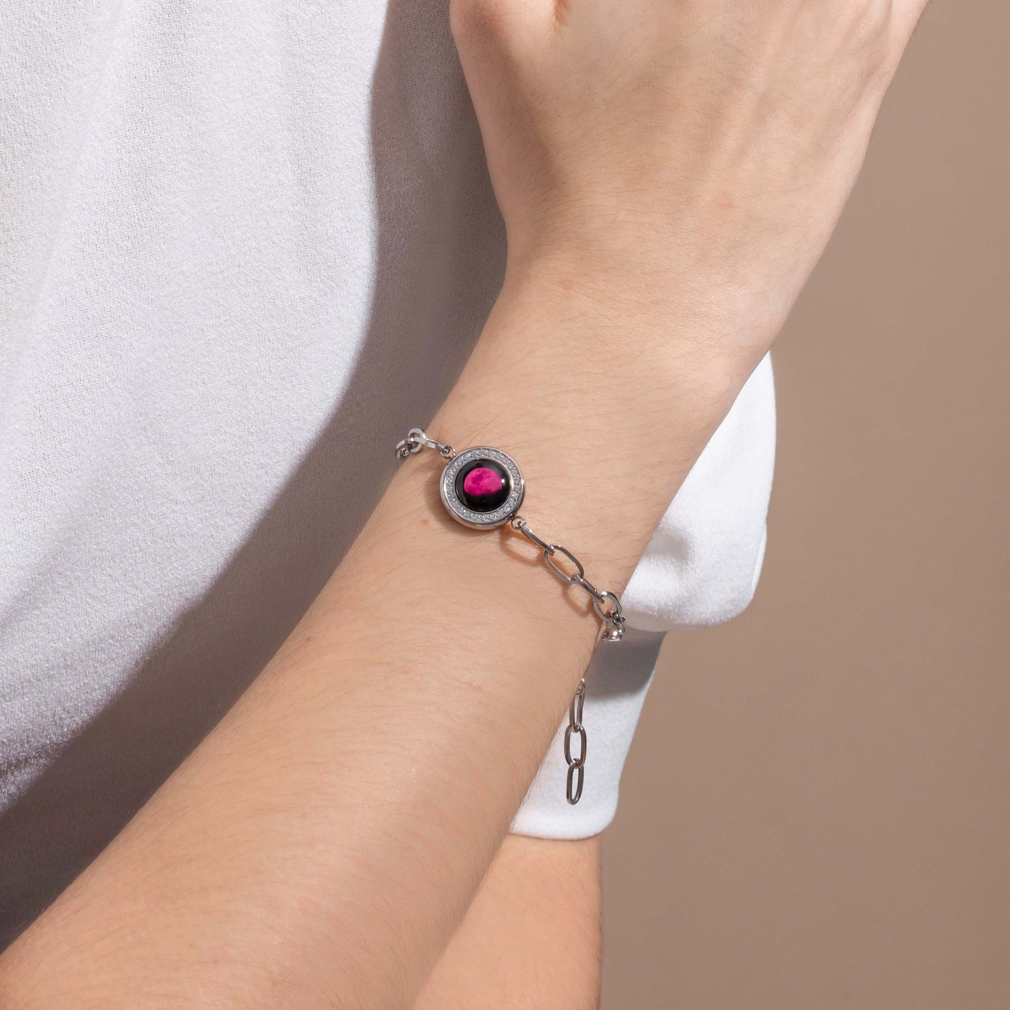 Pink Moon Asterism Link Bracelet in Stainless Steel