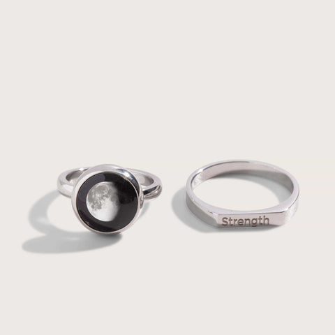 Mini Moon & Engravable Ring Set