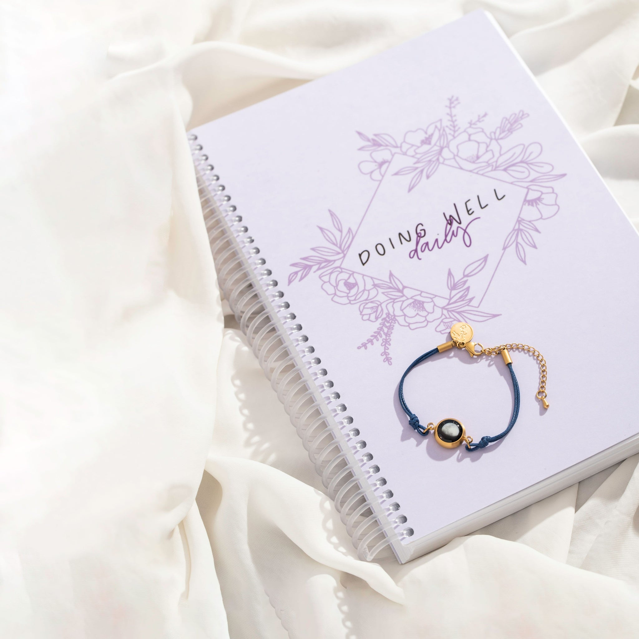 Doing Well Daybook and Positive Energy Moon Bracelet in Night Blue Bundle