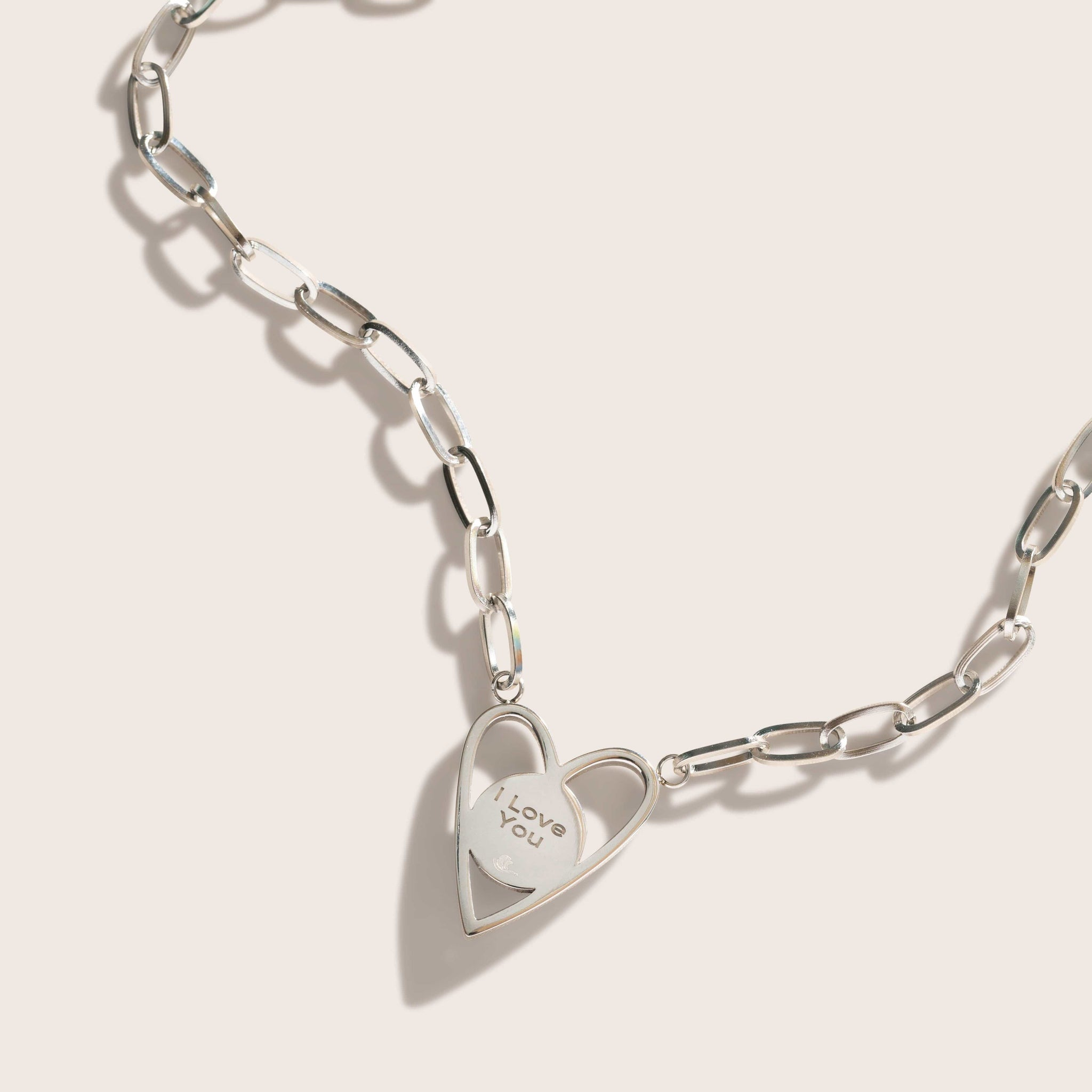 Atlas Link Heart Necklace in Stainless Steel