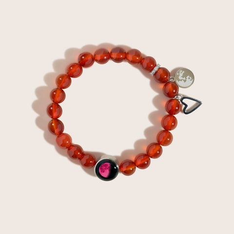 Pink Moon Brilliant Blush Jade Bracelet in Stainless Steel